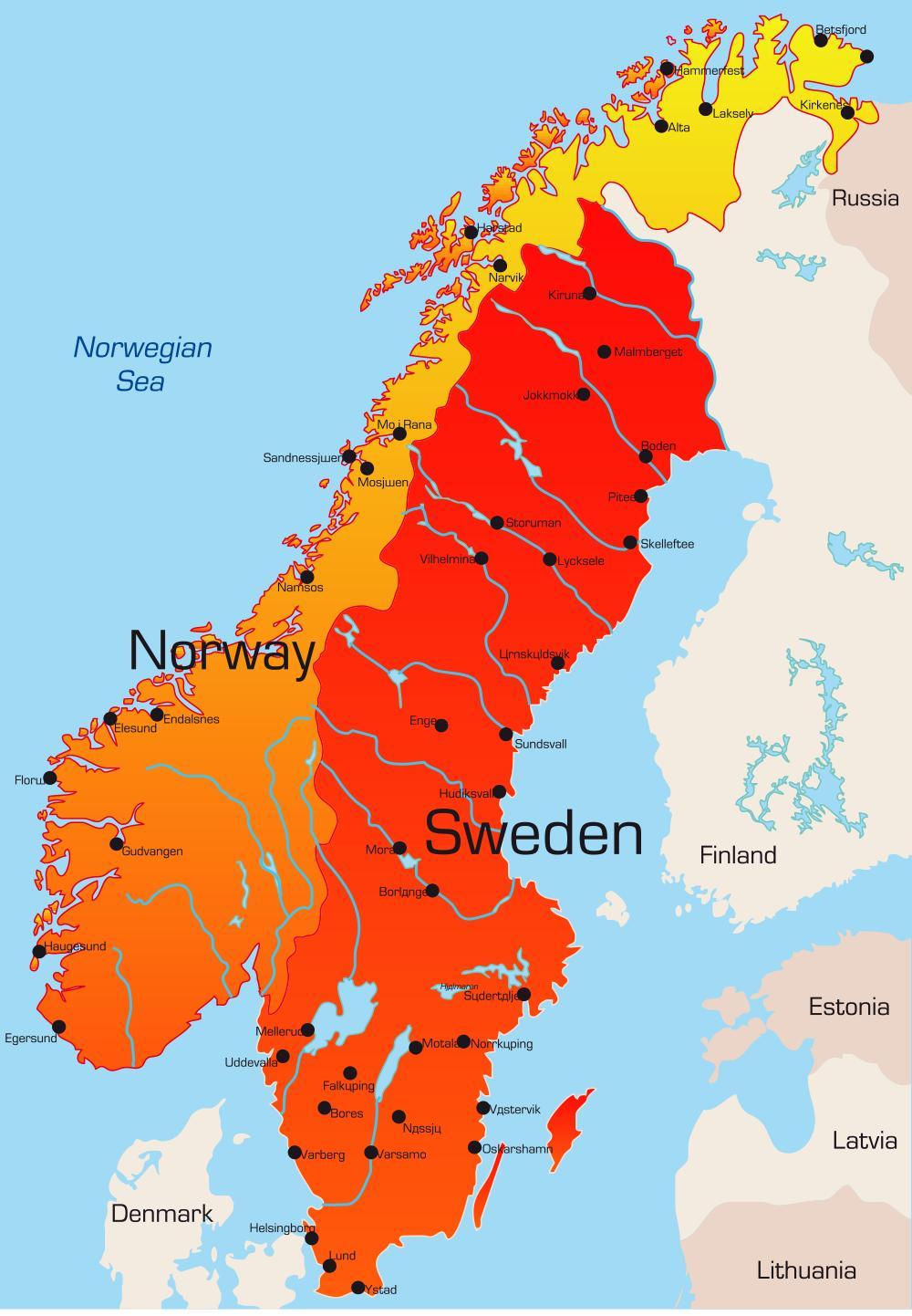 Sverige Kort Byer Kort Over Sverige Med Byer I Det Nordlige Europa