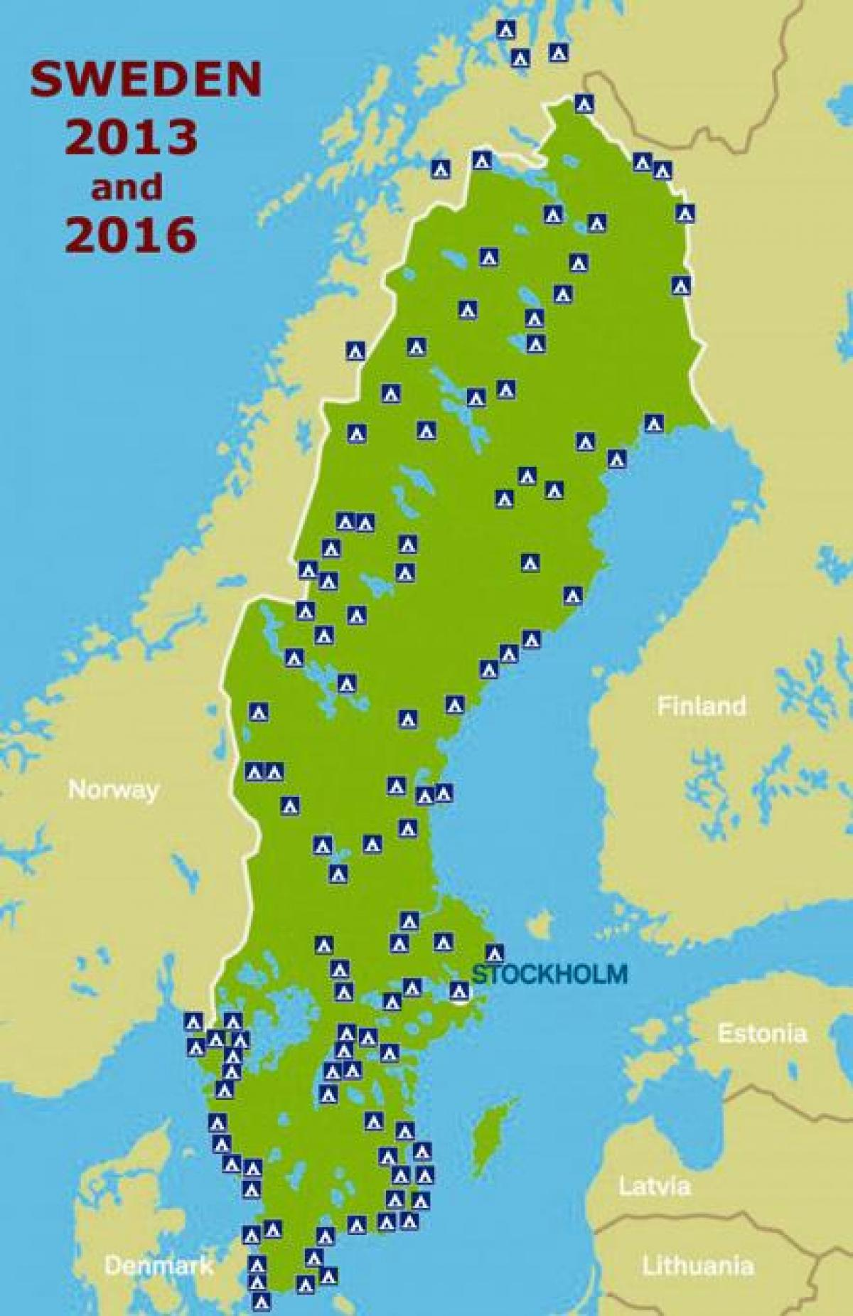 Camping I Sverige Kort Sverige Camping Kort I Det Nordlige Europa