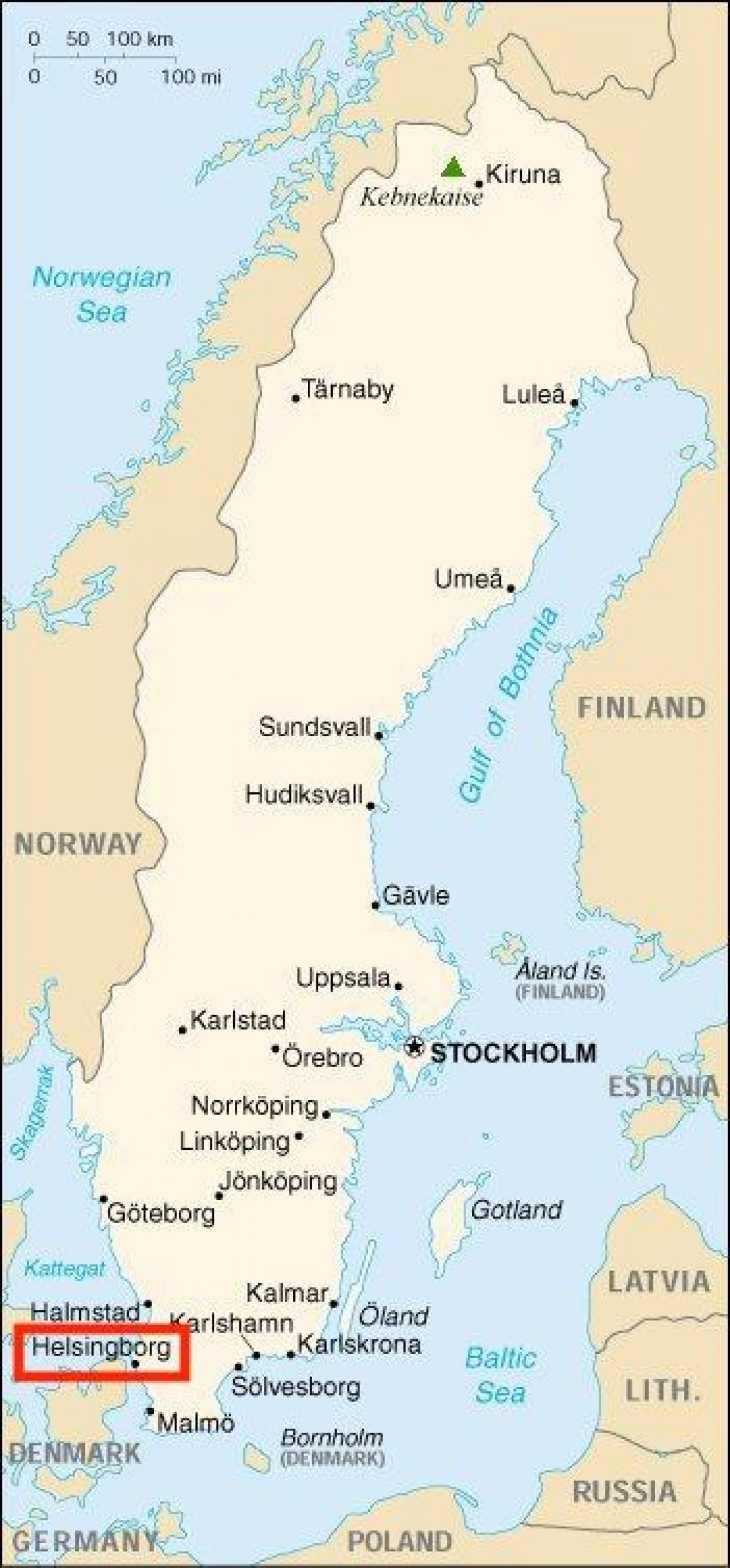 Helsingborg Sverige Kort Kort Over Helsingborg Sverige I Det