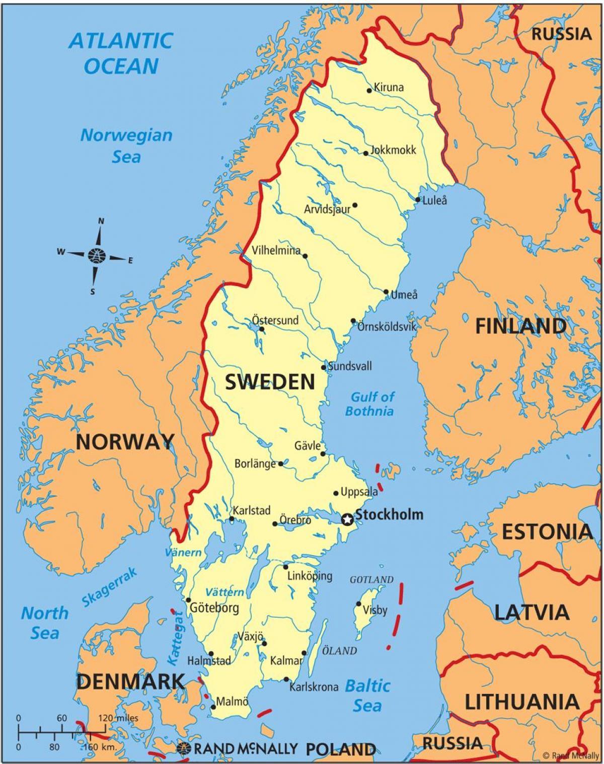 Kort Over Sverige I Sverige Pa Et Kort I Det Nordlige Europa