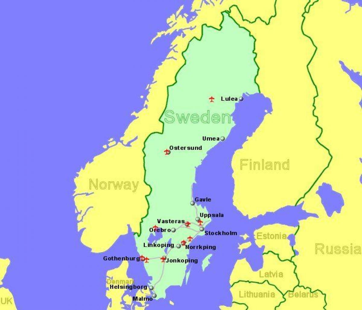 Lufthavne I Sverige Kort Kort Over Lufthavne I Sverige I Det