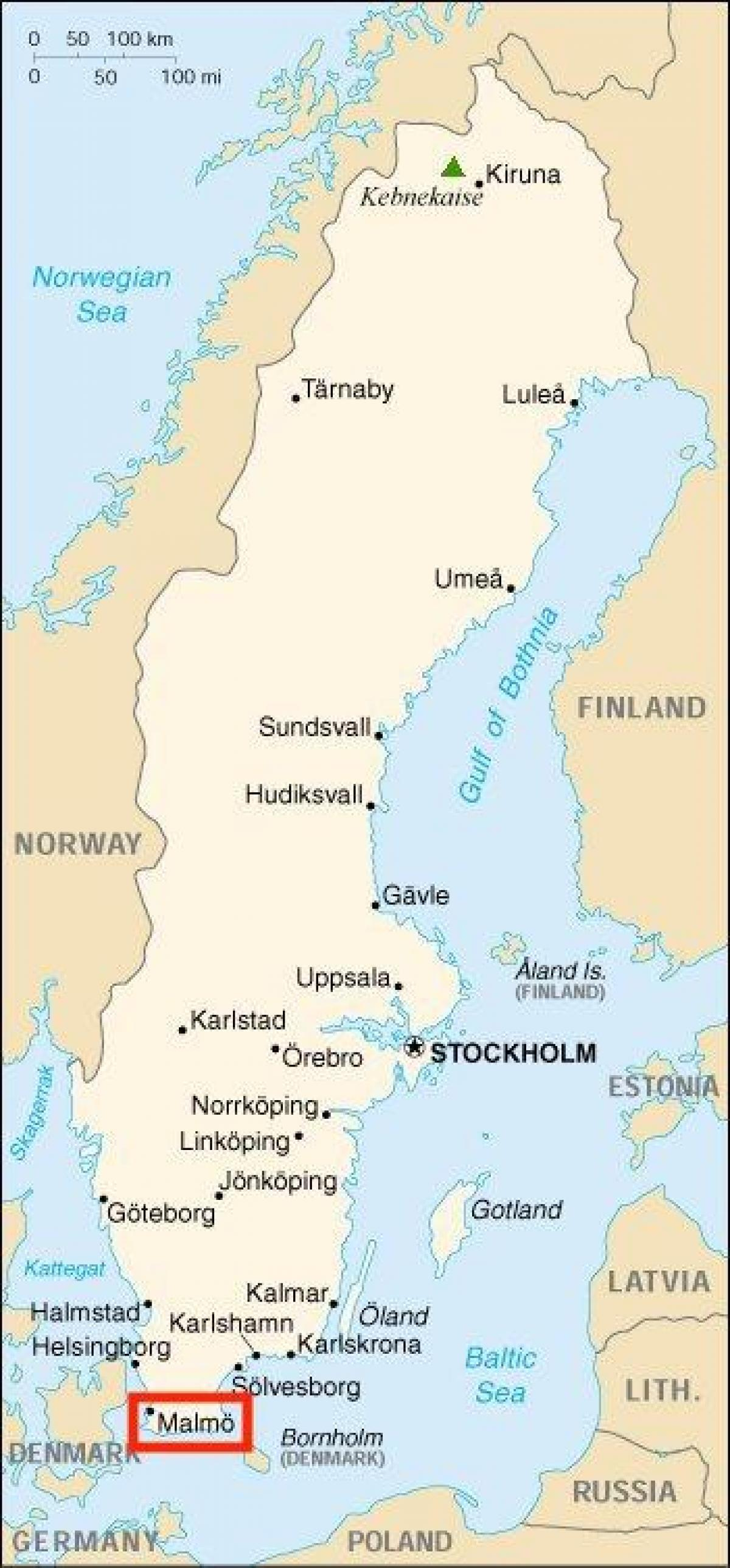 Malmo Sverige Kort Sverige Malmo Kort I Det Nordlige Europa