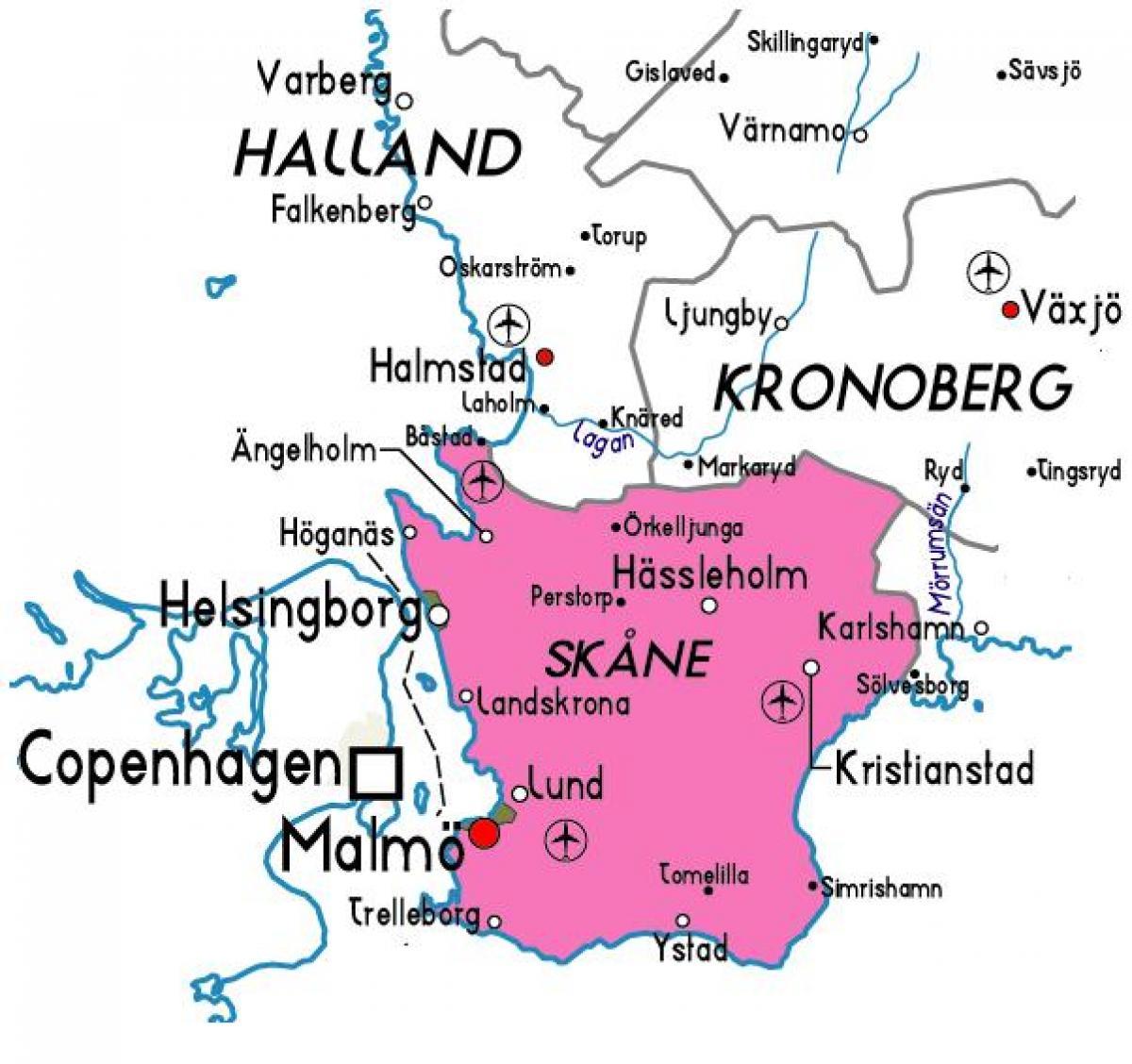 Skane Sweden Kort Kort Over Skane Sverige I Det Nordlige Europa