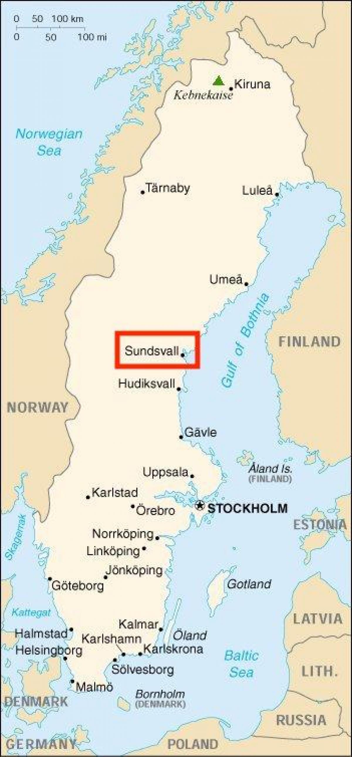 Sundsvall i Sverige kort - Kort over Sundsvall, Sverige (i det Nordlige Europa)