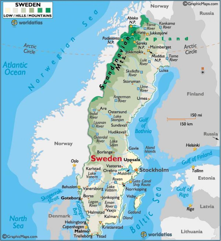 Sverige Bjergene Kort Bjergene I Sverige Kort I Det Nordlige