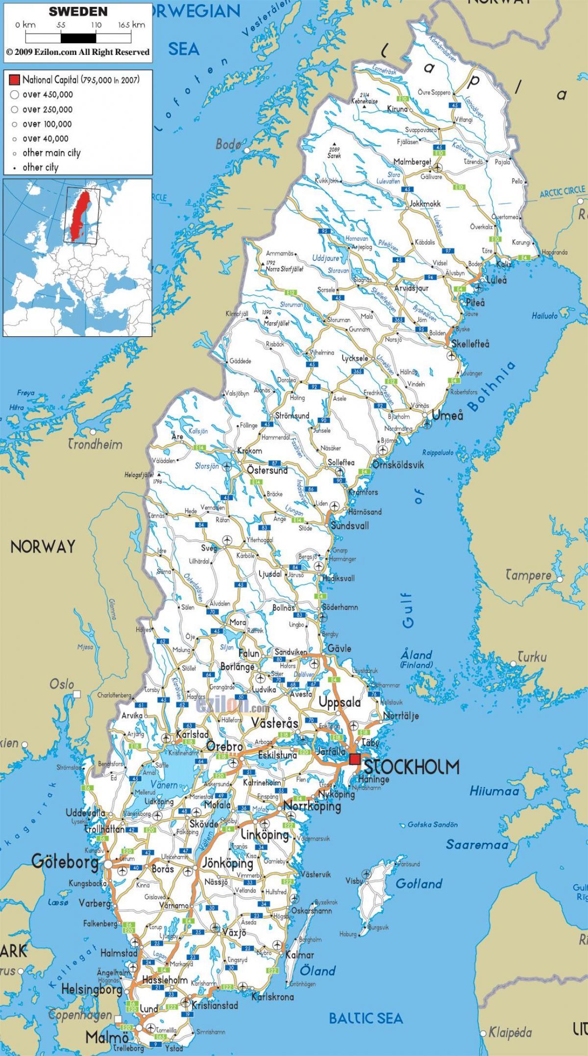 Sverige Byer Kort Sverige Kort Med Byer I Det Nordlige Europa