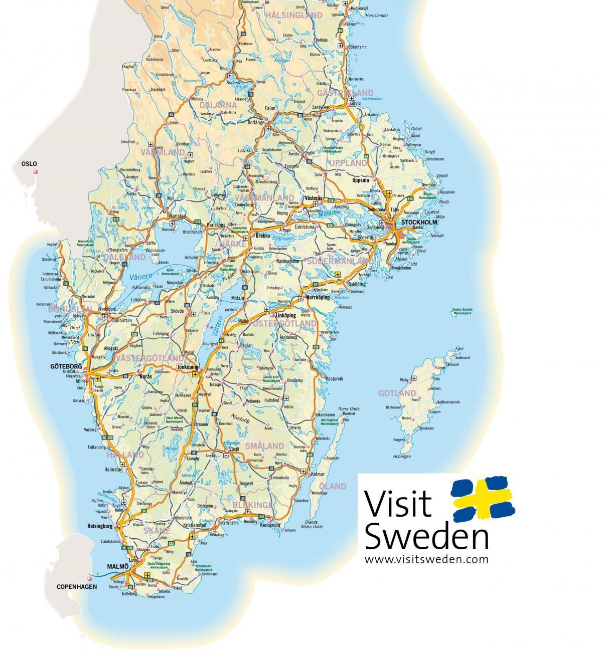 Syd Sverige Kort Kort Over Sydsverige I Det Nordlige Europa
