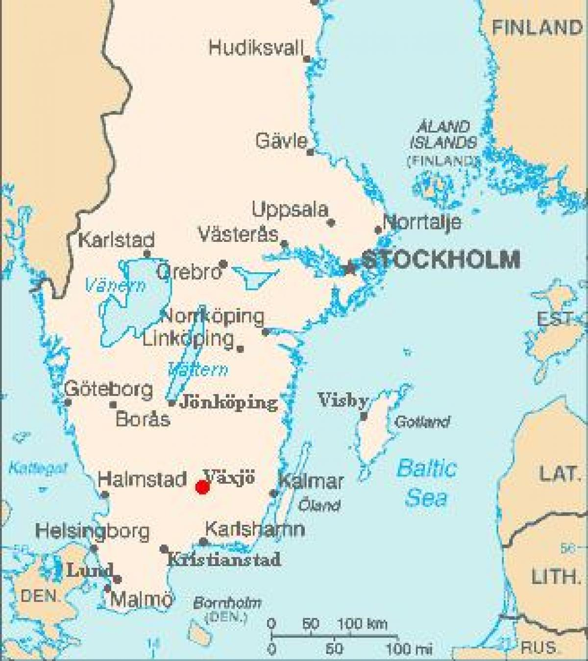 Växjö Sverige kort - Kort over Växjö Sverige (i det Nordlige Europa)